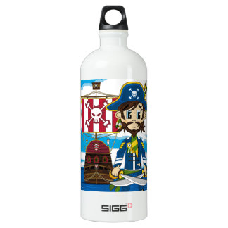 Cute Pirate and Ship Aluminum Water Bottle