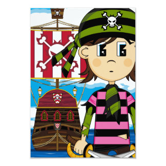 Cute Pirate and Ship Greeting Card