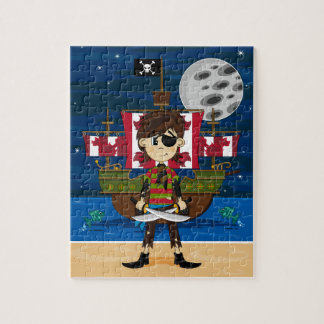 Cute Pirate and Ship Jigsaw Puzzle