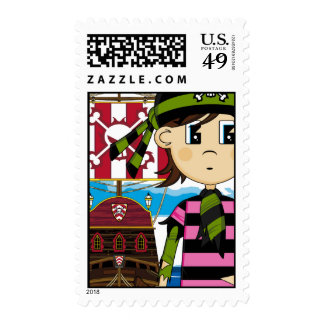 Cute Pirate and Ship Postage Stamp