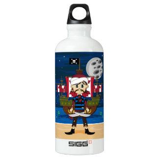 Cute Pirate and Ship Scene Aluminum Water Bottle