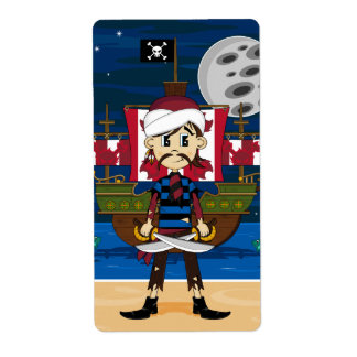 Cute Pirate and Ship Scene Label
