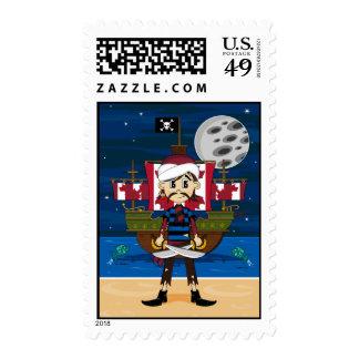 Cute Pirate and Ship Scene Stamp
