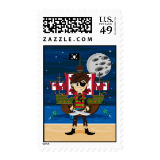 Cute Pirate and Ship Stamp
