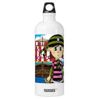 Cute Pirate and Ship Water Bottle