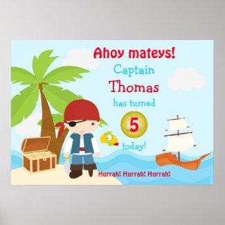 Cute Pirate Boy Birthday Poster