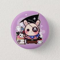 Cute pirate bunny with kawaii cupcake and octopus pinback button