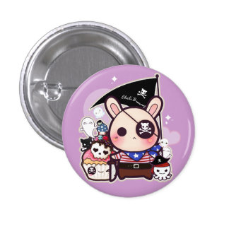 Cute pirate bunny with kawaii cupcake and octopus pinback button