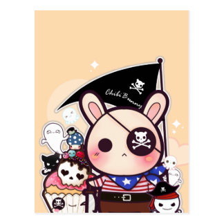 Cute pirate bunny with kawaii skull cupcake postcard