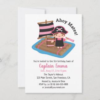 Cute Pirate Captain Girl Raft Kid Birthday Party Invitation