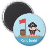 Cute Pirate Captain Ocean Raft Boy 2 Inch Round Magnet