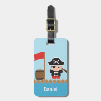 Cute Pirate Captain Ocean Raft For Boys Luggage Tag