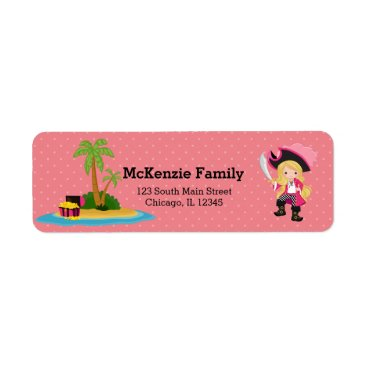 Beach Themed Cute Pirate * choose background color Label