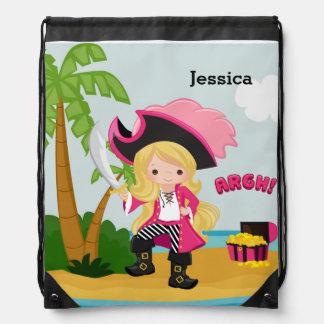 Cute Pirate Drawstring Backpack