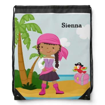 Beach Themed Cute Pirate Drawstring Backpack