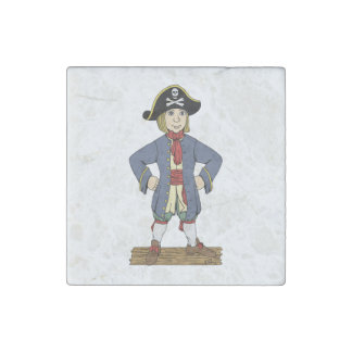 Cute Pirate Lad Marble Magnet Stone Magnet