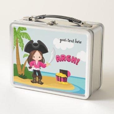 Beach Themed Cute Pirate Metal Lunch Box