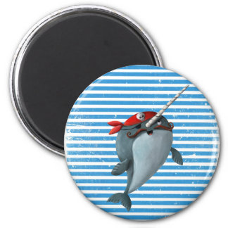 Cute Pirate Narwhal 2 Inch Round Magnet