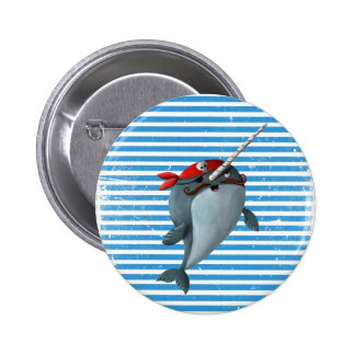 Cute Pirate Narwhal Button