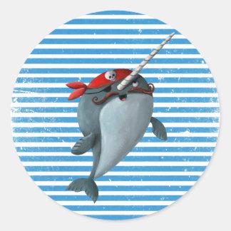Cute Pirate Narwhal Classic Round Sticker