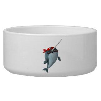 Cute Pirate Narwhal Dog Bowl