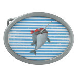 Cute Pirate Narwhal Oval Belt Buckles