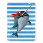 Cute Pirate Narwhal Post Card