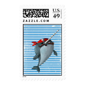 Cute Pirate Narwhal Postage Stamp