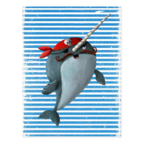 Cute Pirate Narwhal Postcard