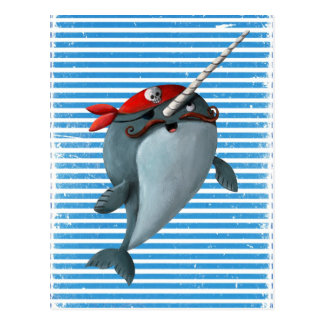 Cute Pirate Narwhal Postcard
