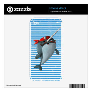 Cute Pirate Narwhal Decal For iPhone 4S