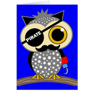 cute pirate owl card