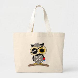 cute pirate owl jumbo tote bag