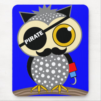 cute pirate owl mouse pad