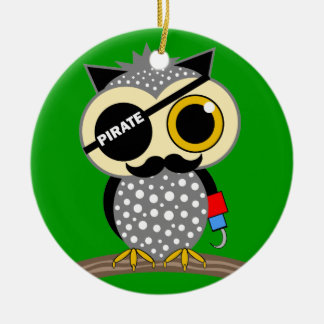 cute pirate owl Double-Sided ceramic round christmas ornament