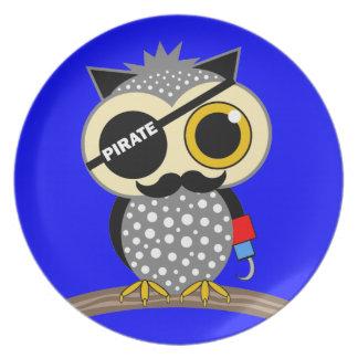 cute pirate owl plate