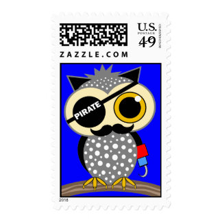 cute pirate owl postage stamp