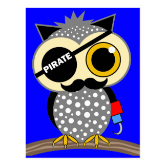 cute pirate owl postcard