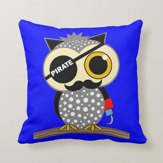 cute pirate owl throw pillow