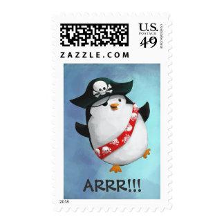 Cute Pirate Penguin Stamp