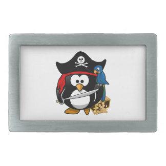 Cute Pirate Penguin with Treasure Chest Rectangular Belt Buckles