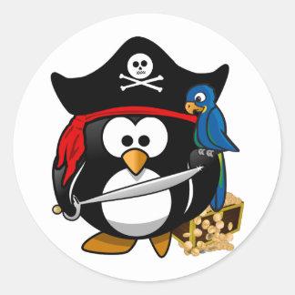 Cute Pirate Penguin with Treasure Chest Classic Round Sticker