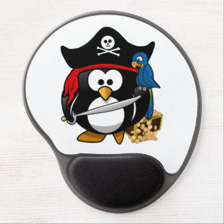 Cute Pirate Penguin with Treasure Chest Gel Mouse Pad