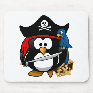 Cute Pirate Penguin with Treasure Chest Mousepad