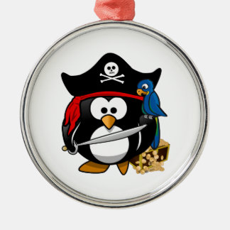 Cute Pirate Penguin with Treasure Chest Christmas Ornaments