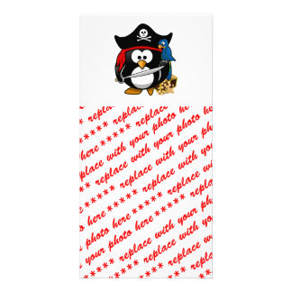 Cute Pirate Penguin with Treasure Chest Photo Card Template