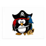 Cute Pirate Penguin with Treasure Chest Postcard
