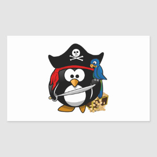 Cute Pirate Penguin with Treasure Chest Rectangular Sticker