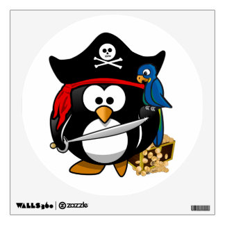 Cute Pirate Penguin with Treasure Chest Wall Sticker
