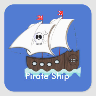 Cute Pirate Ship Themed Party Stickers